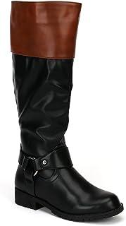 8e8f081898d Nature Breeze Vivienne-06 Women s Side Zipper Flat Over Knee High Riding  Boots
