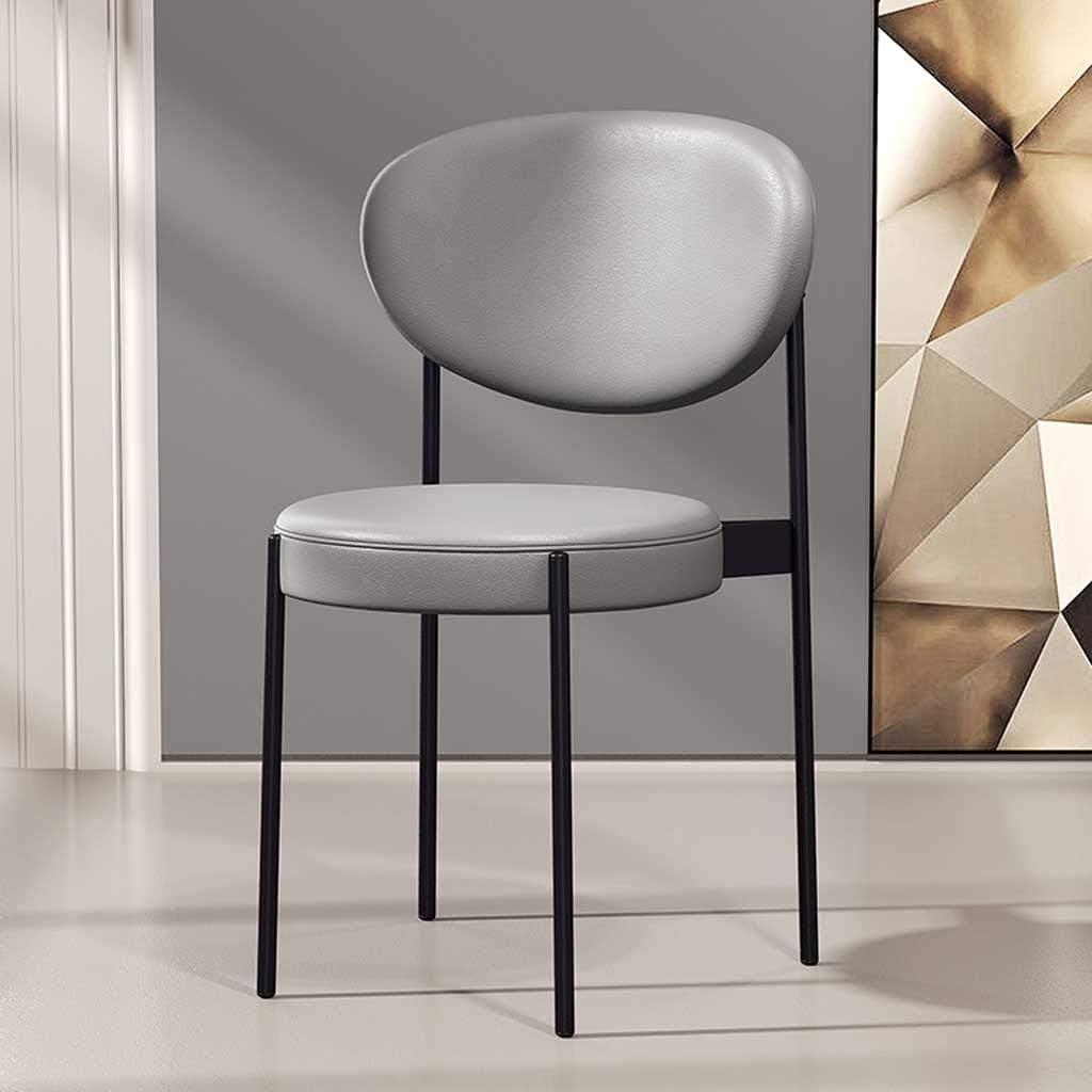 LRXG Chaise de Salle à Manger en métal avec Surface en PU avec Coussin rembourré Designer Contemporain for Salon de Bureau Cuisine de Salle à Manger (Color : Gray) Gray