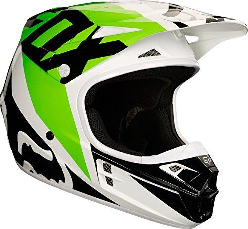 Fox Helmet V de 1Race, White/Black/Green, Tamaño XL
