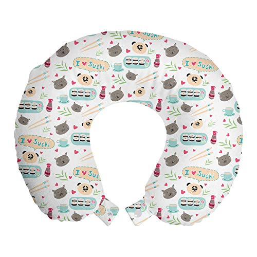 ABAKUHAUS Gato japonés Cojín de Viaje para Soporte de Cuello, Sushi Doodle del Amor de I, de Espuma con Memoria y Funda Estampada, 30x30 cm, Champagne Topo Gris