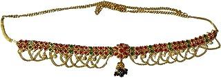 Laxmi Jewells Alloy Traditional Bridal Waist/Hip Belt for Women (Red & Green & Golden)