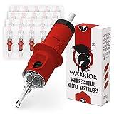 WARRIOR Red Cartucce Aghi per Tatuaggi Professionale Sterilizzate con Eo Gas Tattoo Needle Cartridge Round Shader 20 pezzi in Acciaio Chirurgico Usa e Getta Trucco Permanente (RED-1203RS)