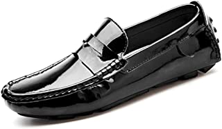 HUANGAIHUA Men's Drive Loafers Casual Breathable And Comfortable Patent Leather Boat Moccasins