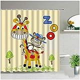 Cartoon Tier Giraffe AFFE Duschvorhang Elefant Löwe Kaninchen Katze Eule Wal Bad Displaye Wasserdichtes Gewebe Badezimmer Gardinen-180x180cm