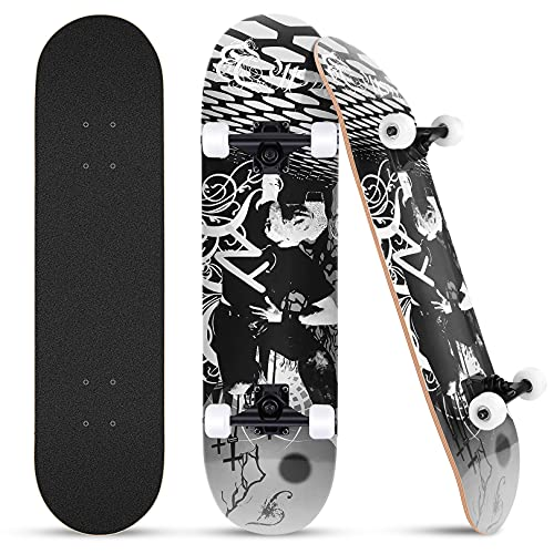 FONTE Skateboard, Komplettboard Cruiser 31 x 8 Zoll für Kinder Jugendliche Erwachsene Anfänger Mädchen, 7 Lagiger kanadischen Ahorn Double Kick Deck, hochelastischen PU-Rädern - Schwarz