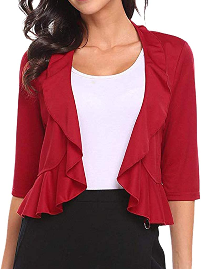 Womens Short Party Solid Ruffle Cropped Shrug Mini Office Work Cardigan Coat