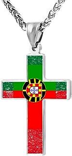 Zinc Alloy Chain Cross Pendant Necklace Portuguese Flag 3D Printed Jewelry for Men Women