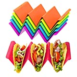 Taco Holder Stands Stainless Steel Set of 4 with Silicone Easy-Access Handle, Taco Shell Holder, Taco Tray, Oven, Grill, and Dishwasher Safe, Smooth Edge-Red