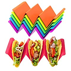 LARGE SIZE TACO HOLDERS - 6 pack Taco Holder Stands in 6 different colors, large size for bigger tacos, holds up to 3 or 2 Tacos EACH, perfect for TACO TUESDAY, holidays, outings and weekends SAFE AND HEALTH TACO TRAY STANDS - 100% food grade PP mate...