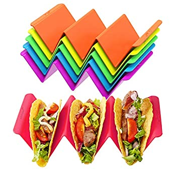Colorful Taco Holder Stands Set of 6 - Premium Large Taco Tray Plates Holds Up to 3 or 2 Tacos Each PP Health Material Very Hard and Sturdy Dishwasher & Microwave Safe