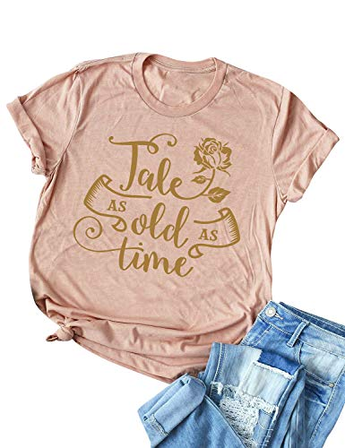 STYLEIE Women Tale As Old As Time Letter Graphic Print Tees Short Sleeve T Shirt Peach  Medium
