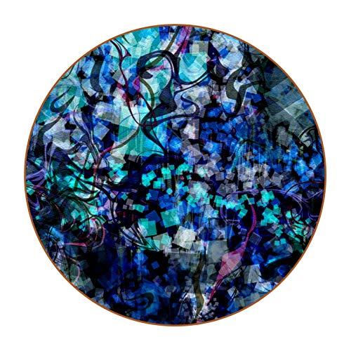 Lindo juego de 6 posavasos redondos de fibra de piel para el hogar y la cocina, abstracto, azul