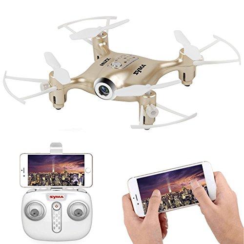 LiDiRC Syma X21W 2.4GHz Mini WIFI Trasmissione in tempo reale Drone con fotocamera HD, un decollo chiave o atterraggio RC Quadcopter (Gold)