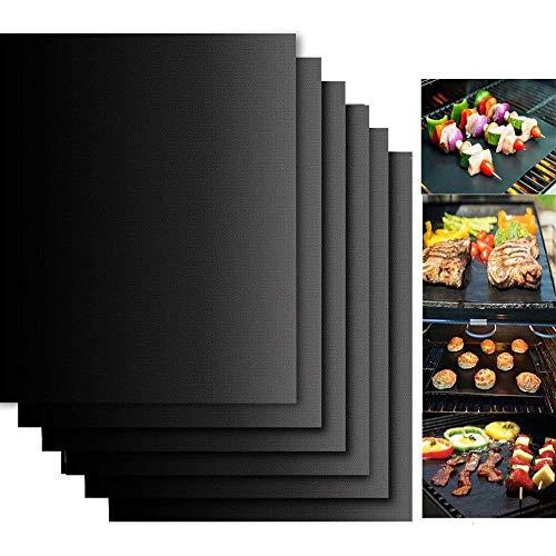 BBQ Grillmatten, 6er Set 33*40CM BBQ antihaft wiederverwendbar Grillmatte gasgrill für Grill bis 260°C