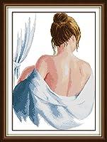 刺繡スターターキット刻印クロスステッチキット初心者が簡単に面白い刺しゅうパターン16x20インチでDIY11CT刺繡のために入浴