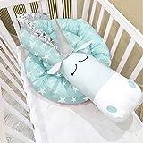 i-baby Protector Cuna Chichonera de Cuna y Cama para Bebé Cabeza 200cm Cojín de Barandillas Unicornio Rosa 3D Dibujos Animados (Aqua Unicorn)
