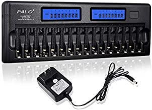 PALO 16 Bay Smart Battery Charger LCD Display for AA/AAA NiMH/NiCd Rechargeable Batteries with Built-in IC Protection & AC Wall Adapter (Upgraded Charger)