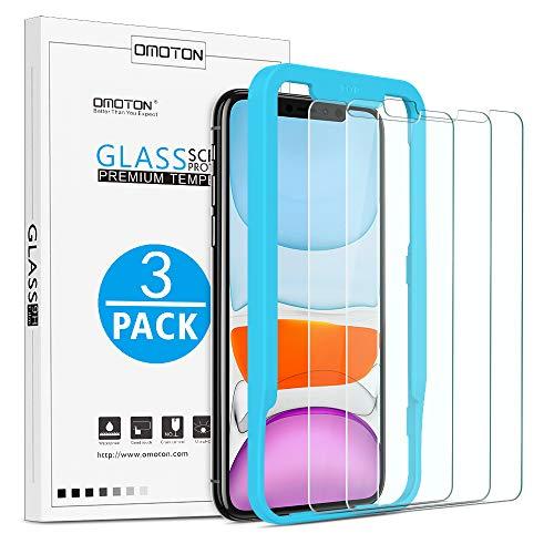 OMOTON 【3 piezas】Protector Pantalla para iPhone 11/ iPhone XR Cristal Templado Vidiro HD sin Burbujas Anti-arañazos【con Marco de instalación】