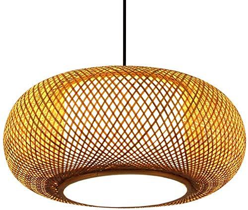 GaLon Bamboe Kroonluchter Hanglamp Chinese Plafondlamp DIY Handgemaakte Geweven Houten Lampenkap E27 Edison Hanglampen Verstelbare Lamp Antieke Houten Kap 40 Cm