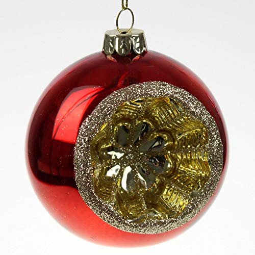 Voss - Bola de Cristal con Reflector (10 cm), Color Rojo