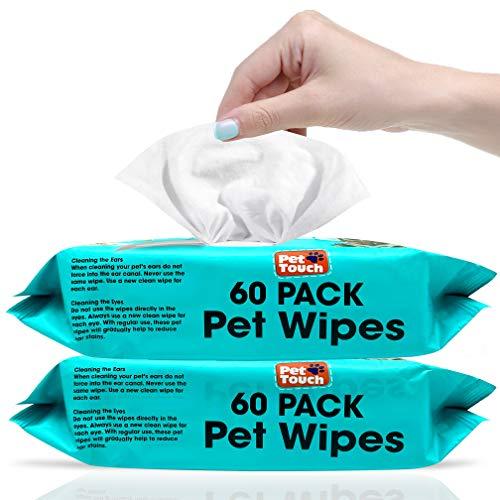 Paquete de 60 toallitas multiusos para limpieza diaria de perros y gatos desodorizantes sin alcohol y húmedos para perros y gatos (2 unidades (120 toallitas)
