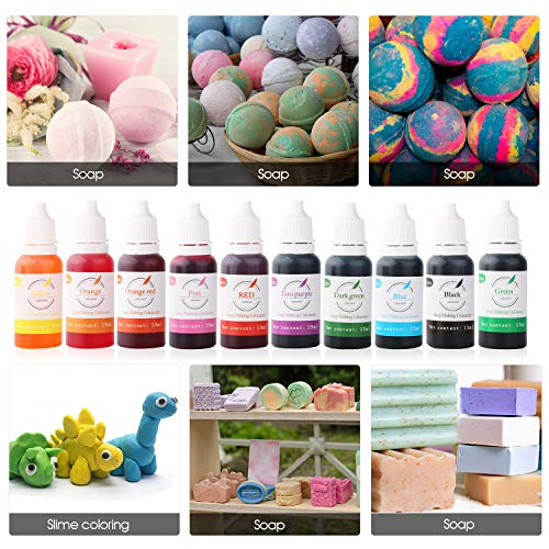 Bath Bomb Soap Dye - Skin Safe Colorant Soap Making Supplies, Natural Liquid Soap Colorant for DIY Bath Bomb Supplies Kit, Slime, Crafts (10color,15ml Each)