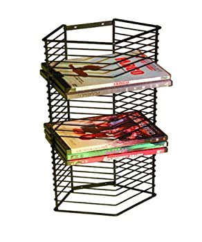 Atlantic Onyx 28 Wire DVD-Tower - Holds 28 DVDs/Blu-Rays or PS3 Games Wall Mount or Freestanding in Black Steel PN 1331