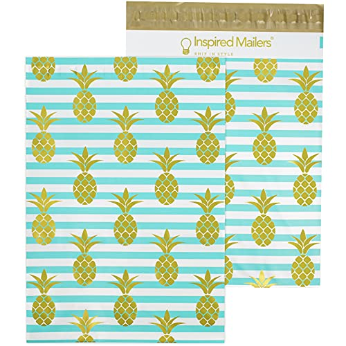 Inspired Mailers - Poly Mailers 10x13-100 Pack - Golden Pineapples Deluxe - Poly Mailer 10x13 - Cute Packaging Bags for Shipping - 10x13 Mailers Poly Bags