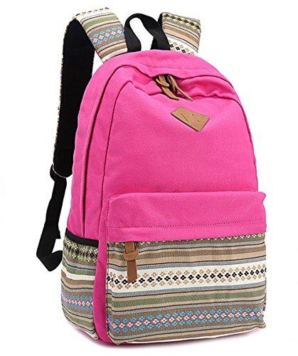 Qimaoo Unisex Leinwand Schulrucksack Rucksack Schulranzen für Teenager mit Tracht Muster für Mädchen Junge, Rosa