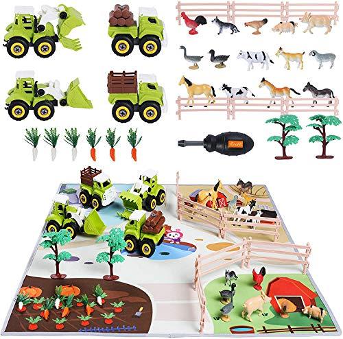 TUMAMA Juguetes de Granja para Niños vehículos para Desmontar y Juego con Gran Alfombra de Actividades, Animales vallado Caballo, Vaca, gallina y forrajes,educativos Juegos de Coches para niños