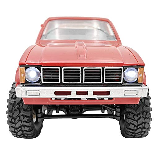 Mintuse RC Car WPL C24 4WD Military Climb Car 2.4G Remote Control Off-Road Rock Crawler RTR Green DIY Christmas Toys Gift for Kids (Red)