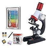 Manyao Kit Microscope Kit de Ciencias Lab LED 100-1200X Microscopio Biológico Escuela de Inicio Juguetes educativos Instrumentos ópticos para niños (Color : with 12 Specimen)