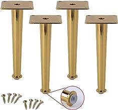 WaiMin Set van 4 metalen meubels voeten tafelpoten Meubelpoten, ijzer vervanging kast voeten, gouden conische salontafel T...