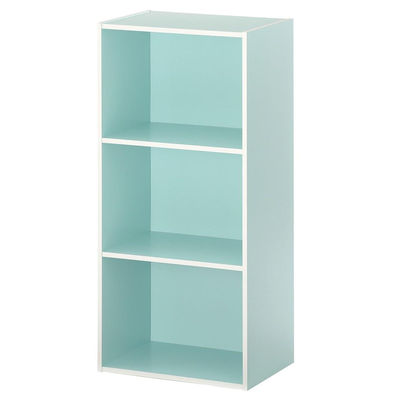 ぼん家具 【完成品】 カラーボックス マルチラック 木製 ラック 多目的ラック 収納箱 本棚 〔3段〕 ブルー