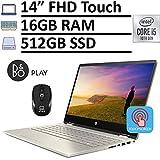 2020 HP Pavilion x360 2-in-1 Convertible Laptop, 14' FHD Touchscreen, 10th Gen Intel Core i5-10210U (Beats i7-8550U) 16GB RAM 512GB SSD, Backlit KB Fingerprint Win 10 + ePark Wireless Mouse