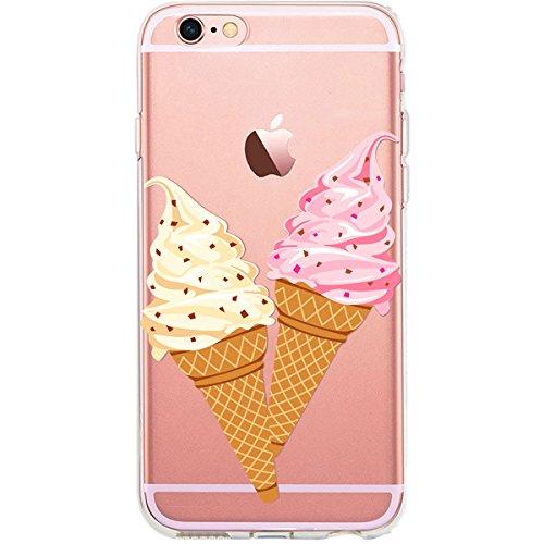 GIRLSCASES® | Funda compatible con iPhone 6 Plus/6S Plus | en helado de frambuesa y vainilla diseño de silicona | Fashion Case transparente
