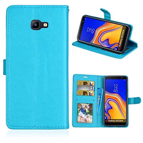 LMFULM® Hülle für Samsung Galaxy J4 Core/SM-J410F (6,0 Zoll) PU Leder Magnet Brieftasche Lederhülle Handyhülle Stent-Funktion Ledertasche Flip Cover für Galaxy J4 Core Einfaches Blau
