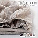 Simple&Opulence 100% Linen Fitted Sheet (1 Piece) Mattress Cover, Natural Belgian Flax-King Size