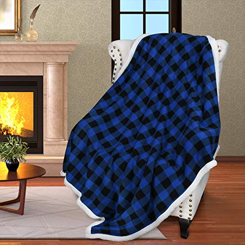 Buffalo Plaid Sherpa Throw Blanket,Reversible Soft Warm Comfy Snuggle Micro Fleece Plush Throws for Bed Couch TV,60x50 Inches,Blue Checkered