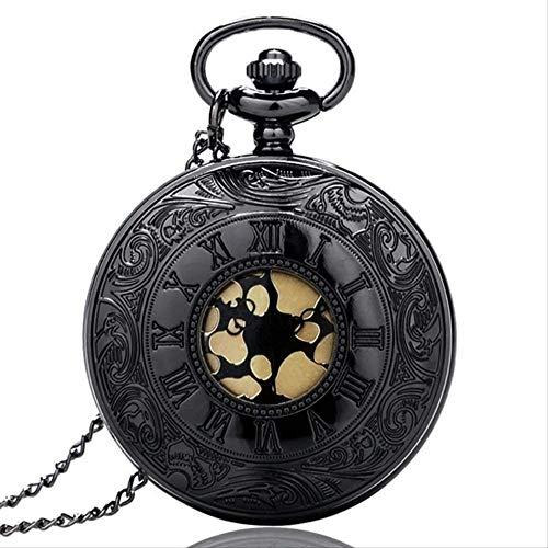 Reloj De Bolsillo Colgante Negro Negro Reloj De Bolsillo De Cuarzo Dial De Oro Steampunk Número Romano Collar