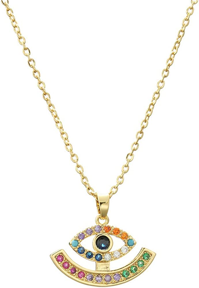 cmoonry Gold Chain Necklace for Women Fashion Evil Eye Necklace Women Girl Necklace Lucky Jewelry Friendship Gift