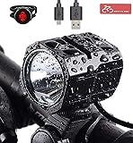 Nestling Juego de Luces LED para Bicicleta Recargable por USB, Faro de Bicicleta de 1200 lúmenes Cree XM-L2 Linterna de Mano con luz Delantera LED Impermeable para Bicicleta con batería de 4400 mAh