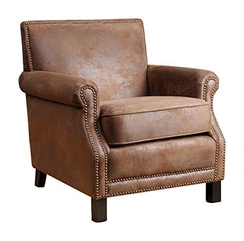Abbyson® Kennedy Fabric Club Chair, Antique Brown