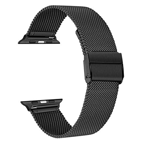 TRUMiRR Ersatz für Apple Watch Armband 44mm 42mm, Mesh Gewebte Edelstahl Armband Metall Uhrenarmband Business Ersatzband für Apple Watch Serie 5/Serie 4/Serie 3/Serie 2/Serie 1/Serie 6/Apple Watch SE