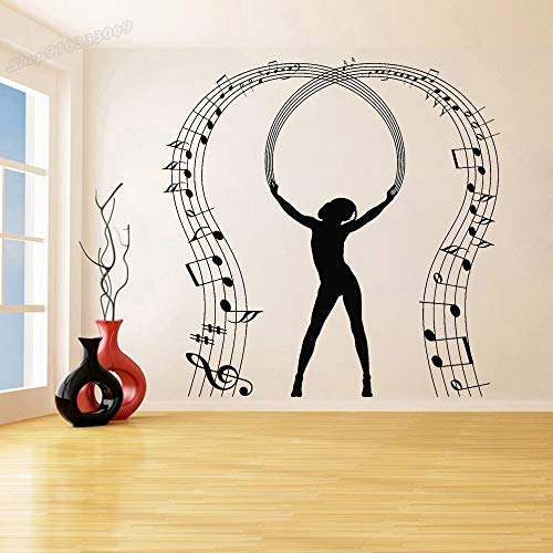 Etiqueta engomada de la pared de la música de la pared del músico del baile de la nota del vinilo