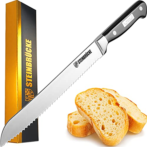 STEINBRÜCKE Serrated Bread knife 10 inch - Ultra sharp Bread Slicing Knife Forged from German Stainless Steel 5Cr15Mov, HRC58, Full Tang kitchenbreadknife for Homemade, Crusty&Soft Bread