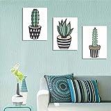 Peinture sur toile murale Dessin Animé Cactus Sans Cadre Mur Art Toile Impressions...