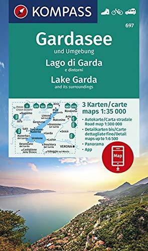 KOMPASS Wanderkarte Gardasee und Umgebung - Lake Garda and its surroundings - Lago di Garda e dintorni: 3 Wanderkarten 1:35000 im Set inklusive Karte ... Autokarte. (KOMPASS-Wanderkarten, Band 697)