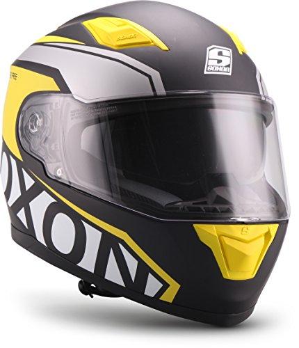 """Soxon® ST-1000 Race """"Yellow"""" · Integral-Helm · Full-Face Motorrad-Helm Roller-Helm Scooter-Helm Cruiser Sturz-Helm Street-Fighter-Helm Sport MTB · ECE Sonnenvisier Schnellverschluss Tasche L (59-60cm)"""