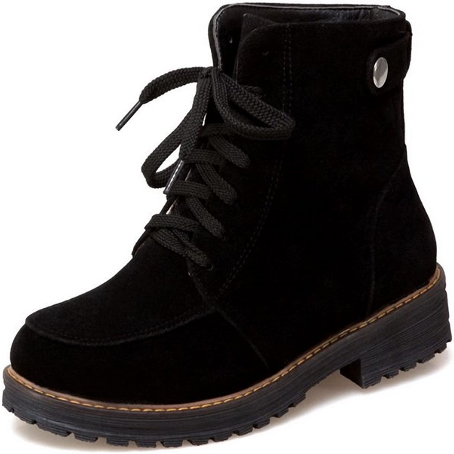 1TO9 Womens Boots Closed-Toe Lace-Up Adjustable-Strap Low-Heels Warm Lining Low-Top Nubuck Urethane Boots MNS02402